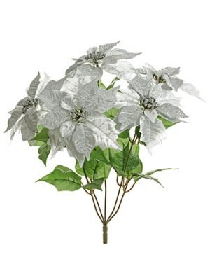 "21"" Glittered Metallic Poinsettia Bush x5 Silver"