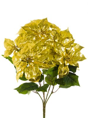 "20"" Poinsettia Bush x5 Gold"