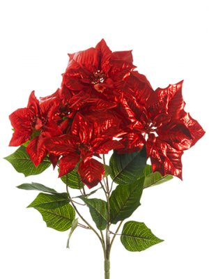 "20"" Poinsettia Bush x5 Red"