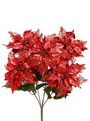 "22"" Glittered Metallic Poinsettia Bush x5 Red"