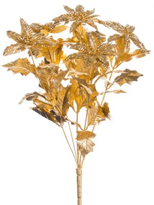 "15"" Plastic Gold Glittered Poinsettia Bush x5 Gold"