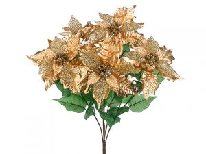 "21"" Glittered Metallic Poinsettia Bush x5 Gold"