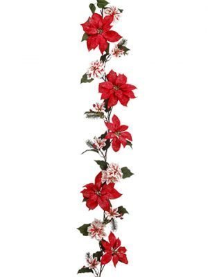 6' Snowed Edge Poinsettia/Pine/ Berry Garland Red White