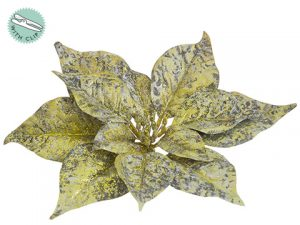 "9"" Glittered Poinsettia With Clip Antique Gold"