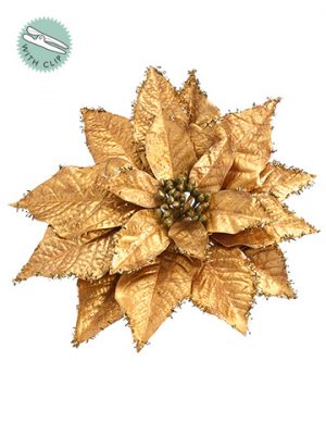 "9"" Glittered Metallic Poinsettia with Clip Gold"