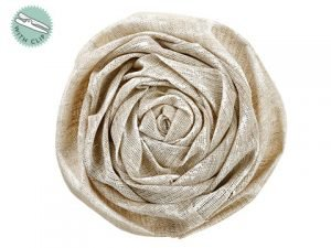 "9"" Snow Linen Rose Clip Beige White"
