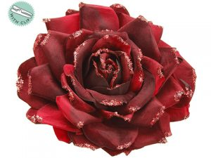 "7"" Glittered Velvet Rose With Clip Burgundy"
