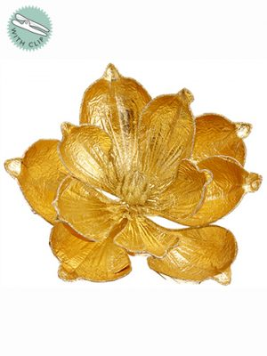 "7"" Glittered Metallic Magnolia With Clip Gold"
