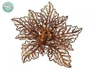 "5"" Glittered Poinsettia With Clip Gold Bronze"