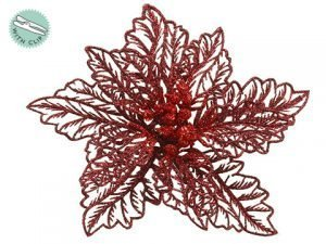 "5"" Glittered Poinsettia With Clip Red Burgundy"