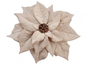 "6"" Rhinestone Velvet Poinsettia With Clip Gold Amber"