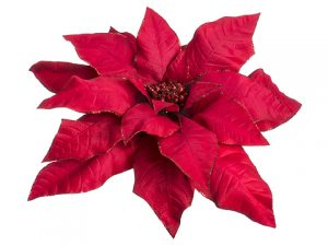 "27""Dx10""L Glittered Giant Poinsettia Pick Red"