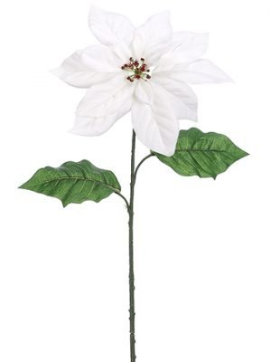 "26"" Velvet Poinsettia Spray White"