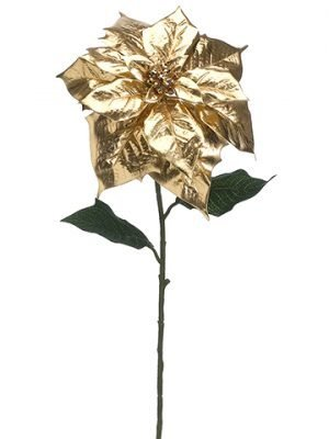 "28"" Single Poinsettia Spray Gold"