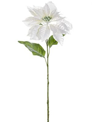 "31.5"" Glittered Metallic Poinsettia Spray Pearl"