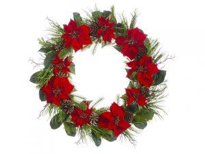 "36"" Velvet Poinsettia/PineCone/Pine WreathRed Green"
