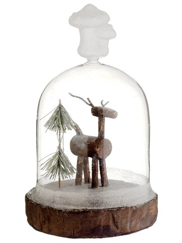 "10"" Reindeer/Pine Tree in Glass Dome Brown Green"