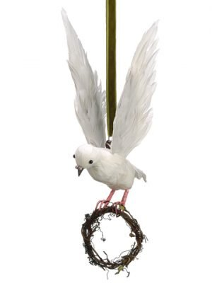 "11""H x 12""L Hanging Dove Ornament White"