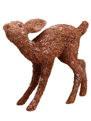 "14"" Glittered Sisal Deer Glittered Brown"