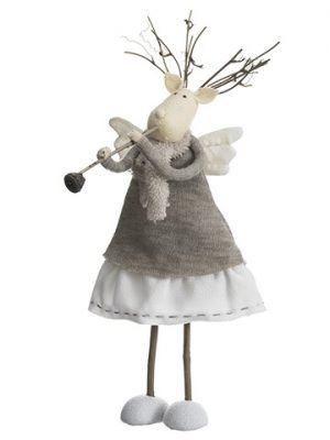 "14"" Reindeer Angel Playing Flute Cream Beige"