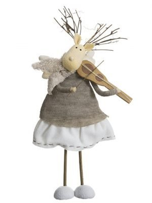 "14"" Reindeer Angels Playing Violin Cream Beige"