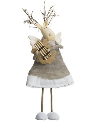 "14"" Reindeer Angel Playing Harp Cream Beige"