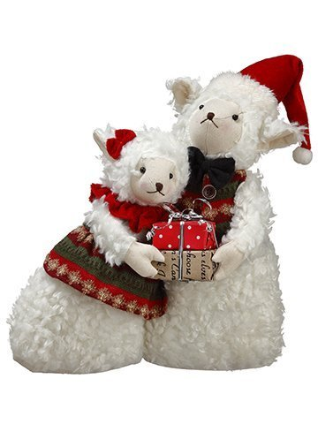 "14"" Mr.& Mrs. Sheep Holding A Gift Box Cream Red"