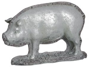 "9""H x 14.5""L Pig Chocolate Mold Antique Silver"