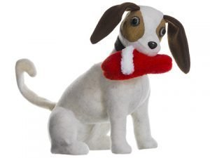 "14"" Terrier Biting Slipper White Brown"