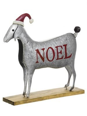 "14""H x 14.75""L Noel Sheep With Hat Gray Red"