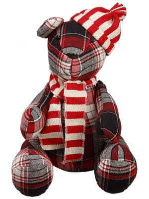 "10"" Plaid Teddy Bear Red Black"
