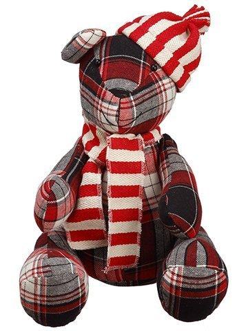 "10"" Plaid Teddy Bear Red Black"