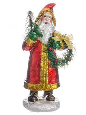 "13.5"" Santa w/Tree & Wreath Red Gold"