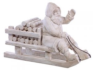 "9"" Santa on Sleigh Antique White"