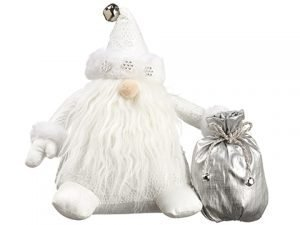 "9"" Santa With Gift Bag White Silver"