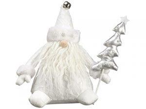 "12"" Santa Holding A Tree White Silver"