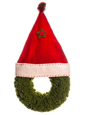 """12.9"""" Stocking Wreath Red Green"""