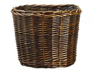 "12"" Round Willow Planter Dark Smoke"