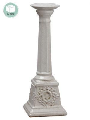 "16"" Ceramic Candleholder withRe-Shippable Inner BoxWhite"