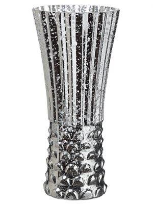 "10""H x 4.5""D Silver StripeGlass VaseSilver"