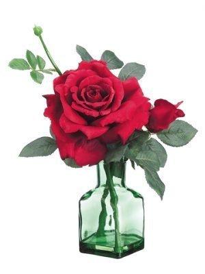 """14"""" Rose in Glass Vase Red"""