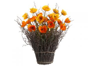 "22"" Poppy Standing Twig Bundle in Re-Shippable Box Yellow Orange"
