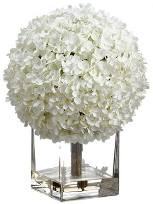 "17"" Hydrangea in Glass Vase  White"