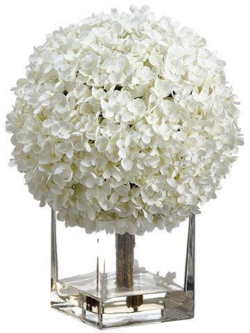 "17"" Hydrangea in Glass VaseWhite"