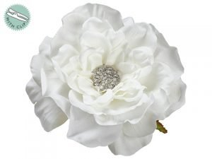 "5.5"" Rhinestone Rose With Clip Cream"