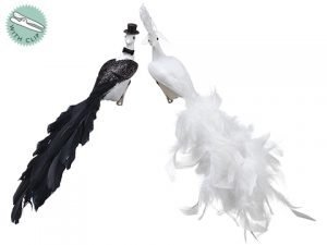 "11"" Feather/Glitter Bridal Peacock With Lace on Clip & Hanger (2 Styles/Assortment) A"