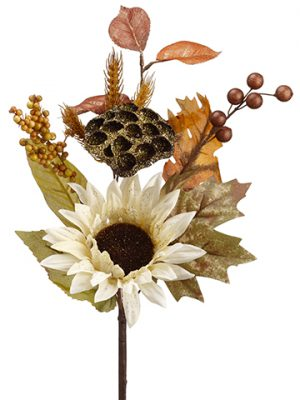 "18"" Glittered Sunflower/Wheat/ Berries PickCream Gold"