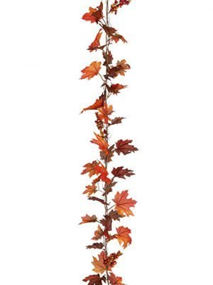 6' Glittered Maple Ivy /Berries Garland Orange Rust