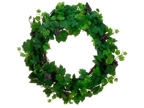 "22"" All Season Grape Leaf Wreath w/Grape Two Tone Green"