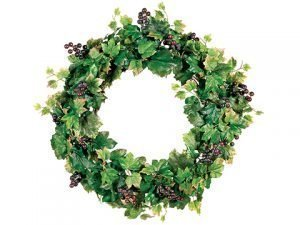 "22"" Grape Leaf Wreath w/Grapes Green"